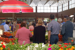 On the market. People buying fresh fruits on the market in Zagreb, Croatia Royalty Free Stock Images
