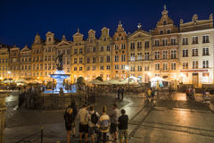 The market along with the fountain of neptune gdansk poland europe Stock Photography