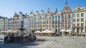 The market along with the fountain of neptune gdansk poland europe Royalty Free Stock Image