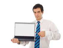 Market analyst showing you laptop screen Stock Photos