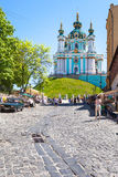 Market on Andriyivskyy Descent and view of Church Royalty Free Stock Photography