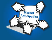 Market Anticipation concept. 3D illustration of Market Anticipation concept script with pointing hand icons pointing at the laptop screen from all sides Stock Photography