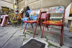 Market of antique and vintage objects in Sarzana, Liguria, Italy stock photos