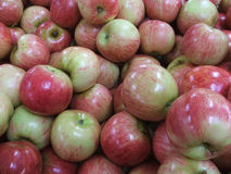 Market - Apples. Red apples on a market stall stock photography