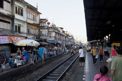 Market in Bangkok on the local railway station Stock Image