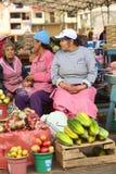 Market in Banos, Ecuador. BANOS, ECUADOR - FEBRUARY 26, 2014: Unidentified female vendors on the market on Plaza 5 de Junio on February 26, 2014 in Banos Royalty Free Stock Image