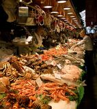 Market in Barcelona, Spain. The Mercat de la Boqueria, simply called La Boqueria, is a large public market in Barcelona, Spain. It's one of the city's foremost stock photography