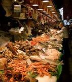 Market in Barcelona, Spain. The Mercat de la Boqueria, simply called La Boqueria, is a large public market in Barcelona, Spain. It's one of the city's foremost Stock Photography