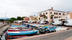 Market in Bardolino Garda lake. Bardoline boardwalk at the Garda lake in italy with market Stock Photo