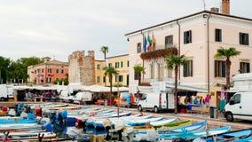 Market in Bardolino Garda lake. Bardoline boardwalk at the Garda lake in italy with market Stock Photos
