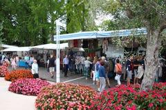 Market in Bardolino Garda lake. Bardoline boardwalk at the Garda lake in italy with market Royalty Free Stock Photography