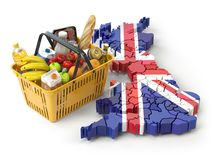 Market basket or consumer price index in UK Great Britain. Shopping basket with foods on the map of UK Great britain. 3d illustration stock illustration