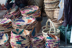 Market baskets. Handmade wicker baskets on a local market Stock Photography