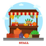 Market bazaar stall or food counter. Market or bazaar stall or food counter with tomato and carrot, orange and mushroom, pumpkin and lemon with price, cherry vector illustration