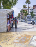 Market booth and Torrevieja symbol Royalty Free Stock Image