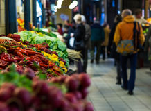 Market in Budapest. Market products on stands and customers in Budapest stock photography