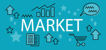 Market Business Concept Banner. Background with element or icon on finance market. Elements signs and symbols for finance market. Charts and graphs of growth Stock Images