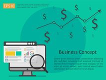 Market business research strategy, data analysis development ban. Ner in flat vector concept Royalty Free Stock Images