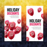Market business sale concept. Vector discounts banner. Marketing red balloons.  Stock Photo