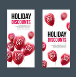 Market business sale concept. Vector discounts banner. Marketing red balloons.  Stock Images