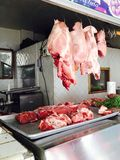 Market Butchershop. Beef hanging at the market butchershop royalty free stock photo