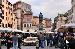 Market on Campo di Fiori. Campo di Fiori (translates to Field of Flowers) in Rome. On this square there is a market in the daytime, while at night it is an stock images