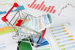 Market cart over business charts Royalty Free Stock Photos
