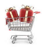Market cart with red gifts. 3D Isolated Stock Image