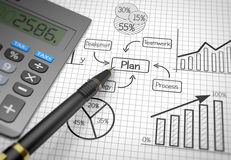 Market chart concept. Pen and calculator on flow chart Royalty Free Stock Photo