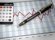 Market chart concept. Pen and calculator on stock chart Stock Image