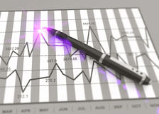 Market chart concept. Pen on stock chart as concept Stock Photo