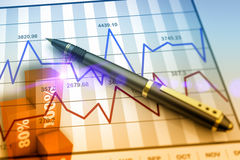 Market chart concept. Pen on stock chart as concept Royalty Free Stock Image