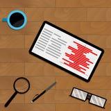 Market chart statistic on tablet screen. Vector profit document flowchart illustration Stock Images