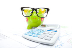Market charts with piggy bank and calculator over it Stock Image