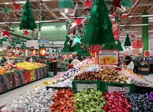 Market of Christmas candies, Stock Image