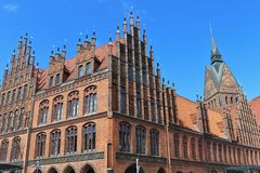 Market church and old town hall in Hanover, Germany. Royalty Free Stock Photography