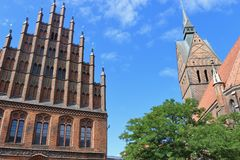 Market church and old town hall in Hanover, Germany. Royalty Free Stock Photos
