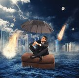 Market collapse. Concept of market collapse with falling meteorites royalty free stock photography