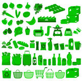 Market collection. A huge set of icons related to supermarkets and shopping Royalty Free Stock Photos
