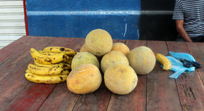 Market in colombia. Some bananas and mangos in the street market of medellin royalty free stock images
