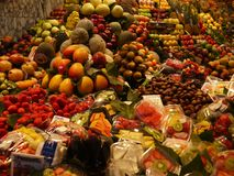 Market of colorful and appethaizing fruits royalty free stock photography