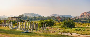 Market complex of Vitthala temple in Hampi, India royalty free stock photography