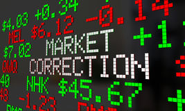 Market Correction Stock Prices Fall Ticker Adjustment Royalty Free Stock Photo