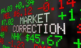 Market Correction Stock Prices Fall Ticker Adjustment 3d Illustr. Ation Royalty Free Stock Photos