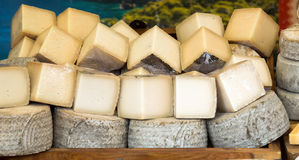 Market counter with  cheese Royalty Free Stock Image
