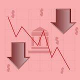 Market crash. Concept illustration showing a financial institution and a downward graph illustrating the crash of the market Royalty Free Stock Image