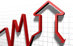 Market crisis. Graph of the housing market indicates a decline Stock Photography