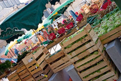 Market day. Early morning shot of a French market getting set up Royalty Free Stock Image