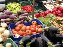 Market day. Fresh vegetables on a street market Royalty Free Stock Photo