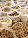 Market day. Fresh nuts and seeds on a street market royalty free stock image